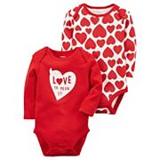 Baby Girl Carter's 2 pk'Love Ya, Mean It' Heart Bodysuits
