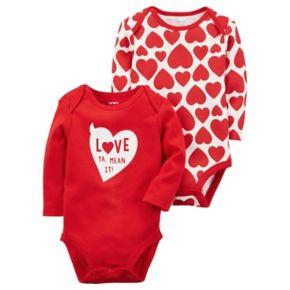 "Baby Girl Carter's 2-pk. ""Love Ya, Mean It"" Heart Bodysuits"