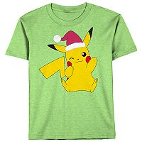 Boys 8-20 Pokemon Pikachu Santa Tee