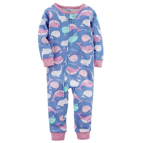 09e7c9e8a492 Baby Girl Carter s Whale Print Footless One-Piece Pajamas