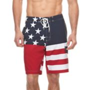 Big & Tall SONOMA Goods for Life™ Flexwear Four Square Stars & Stripes Swim Trunks
