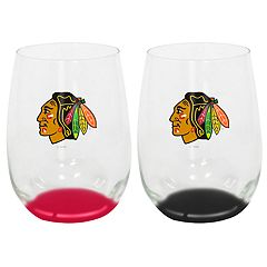 Chicago Blackhawks 2-Pack Stemless Wine Glass Set