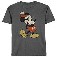 Boys 8-20 Mickey Mouse Santa Tee