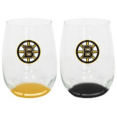 Boston Bruins Stemless Wine Glass Set
