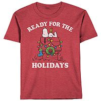 Boys 8-20 Peanuts Snoopy Ready For The Holidays Tee