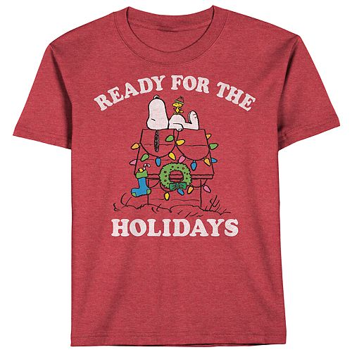 Boys 8-20 Peanuts Snoopy Ready For The Holidays Tee