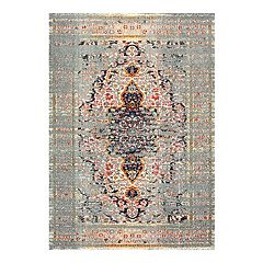 nuLOOM Distressed Persian Sarita Framed Floral Rug