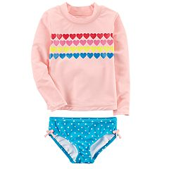 Baby Girl Carter's Heart Rashguard & Polka-Dot Bottoms Swimsuit Set