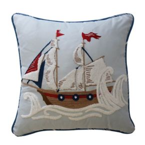Waverly Kids Ride The Waves Pirate Ship Throw Pillow