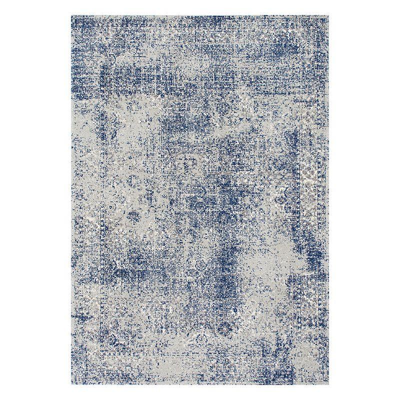 nuLOOM Vintage Willena Framed Floral Rug, Blue, 5X7.5 Ft