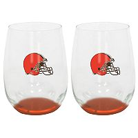 Cleveland Browns 2-Pack Stemless Wine Glass Set