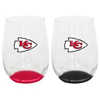 Kansas City Chiefs 2-Pack Stemless Wine Glass Set