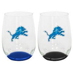 Detroit Lions 2-Pack Stemless Wine Glass Set