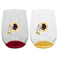 Washington Redskins 2-Pack Stemless Wine Glass Set