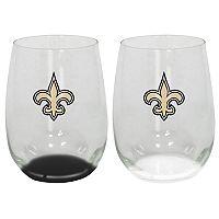 New Orleans Saints 2-Pack Stemless Wine Glass Set