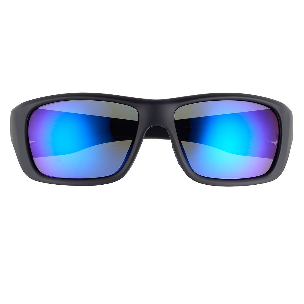 Men's Dockers Rubberized Wrap Soft Touch Blue Mirror Polarized Sunglasses