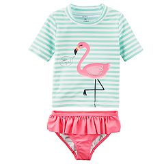 Baby Girl Carter's Flamingo Rashguard & Ruffled Bottoms Swimsuit Set
