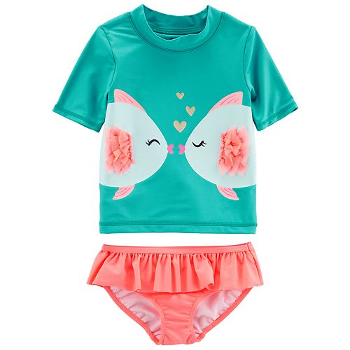 4e3af53f0e Baby Girl Carter's 2 Piece Kissing Fish Rash Guard & Ruffled Bottoms ...
