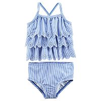Baby Girl Carter's Striped & Scalloped Tankini Swimsuit Set