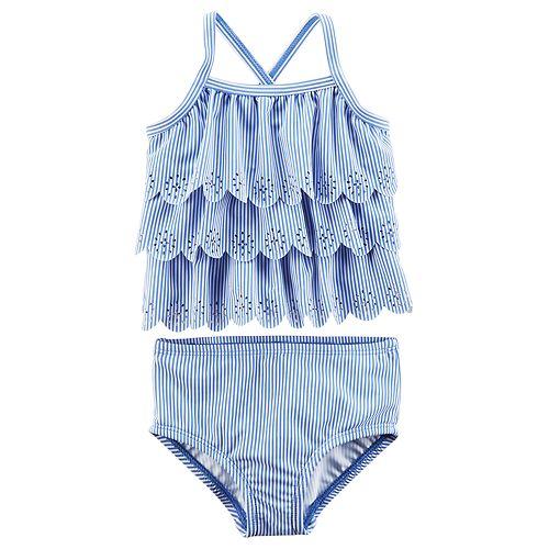 Baby Girl Carter's Striped & Scalloped Tankini Swimsuit Set