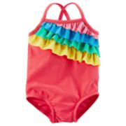 Baby Girl Carter's Rainbow Ruffle Swimsuit