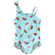 Baby Girl OshKosh B'gosh® Watermelon One-Shoulder Swimsuit