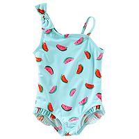 Baby Girl OshKosh B'gosh® Watermelon One-Shoulder Swimsuit