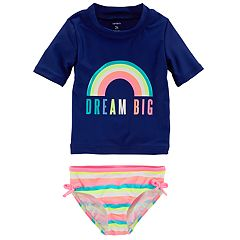 Baby Girl Carter's Graphic Rash Guard & Striped Bottoms Swimsuit Set