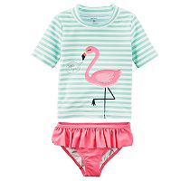 Toddler Girl Carter's Flamingo Striped Rashguard & Ruffled Bottoms Swim Set