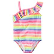 Toddler Girl Carter's Rainbow Striped Asymmetrical One-Piece Swimsuit