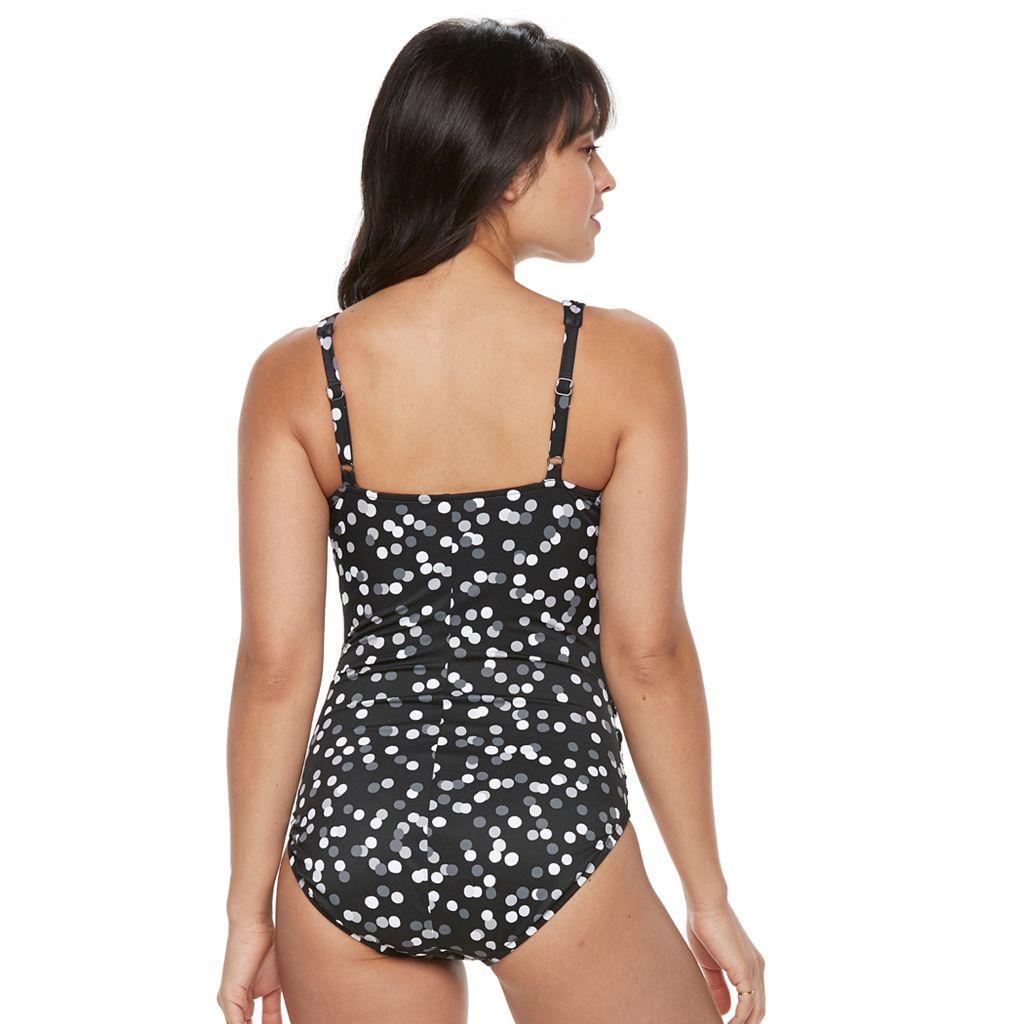 Women's Trimshaper Megan Tummy Slimming Pleated One-Piece Swimsuit