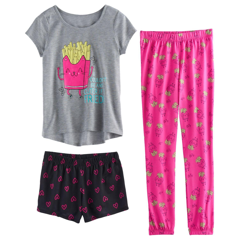 Stunning Girls SO Graphic Tee Patterned Shorts u Bottoms Pajama Set