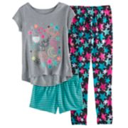 Girls 4-14 SO® Graphic Tee, Patterned Shorts & Bottoms Pajama Set