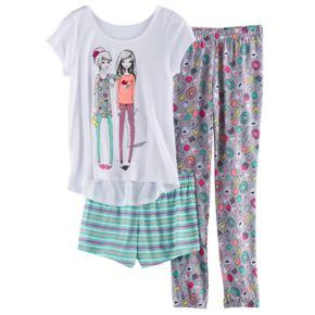 Girls 4-14 SO® Graphic Tee, Patterned Shorts & Bottoms Pajama Set