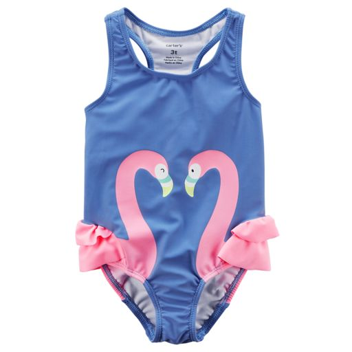 Toddler Girl Carter's Flamingo Rufled One Piece Swimsuit