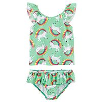 Toddler Girl Carter's Unicorns & Rainbows Top & Bottoms Swimsuit Set