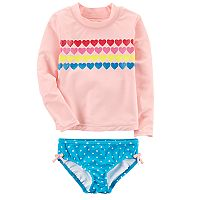 Toddler Girl Carter's Heart Rashguard & Polka-Dot Bottoms Swuimsuit Set