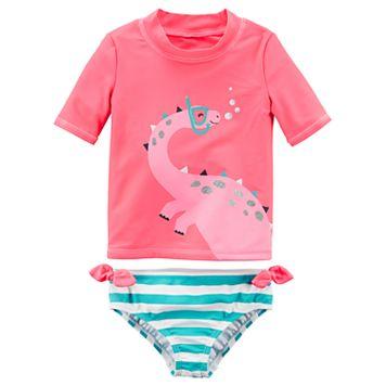 Toddler Girl Carter's Dinosaur Rashguard & Striped Bottoms Swimsuit Set