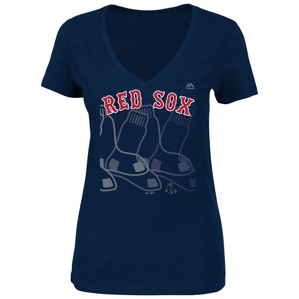 Women's Majestic Boston Red Sox Got Him Chasing Tee