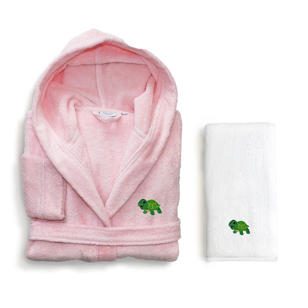 Kids Linum Home Textiles Turtle 2-piece Terry Hooded Bathrobe & Hand Towel Set