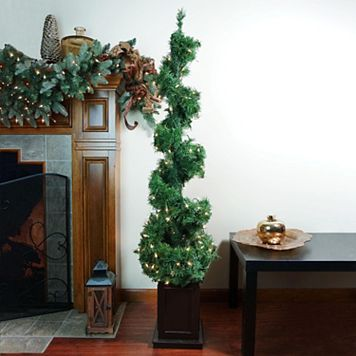 5-ft. Pre-Lit Helix Spiral Potted Artificial Topiary Christmas Tree