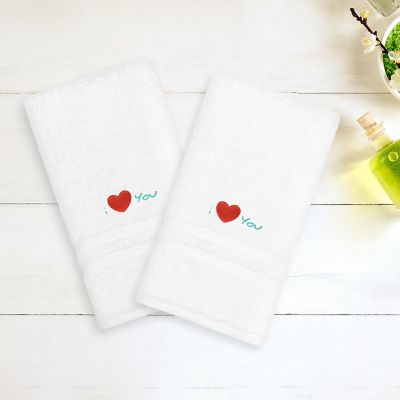"""Linum Home Textiles """"I Love You"""" Embroidered 2-pack Hand Towels"""