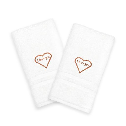 "Linum Home Textiles ""I Love You"" Embroidered 2-pack Hand Towels"