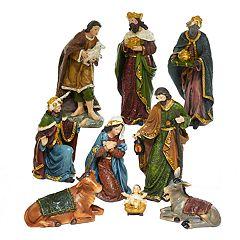 Kurt Adler Nativity Scene Christmas Table Decor 9-piece Set