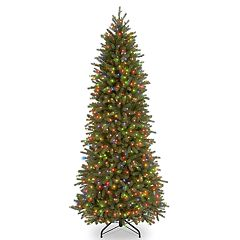 National Tree Company 6.5-ft. Multicolored Pre-Lit Jersey Fraser Fir Pencil Slim Artificial Christmas Tree