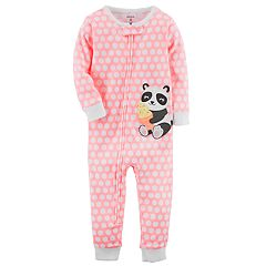Baby Girl Carter's Panda Bear Polka Dot Footless One-Piece Pajamas