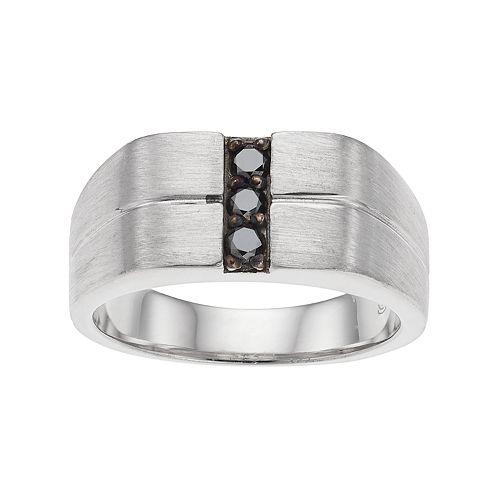 Men's Brushed Sterling Silver 1/4 Carat T.W. Black Diamond Ring