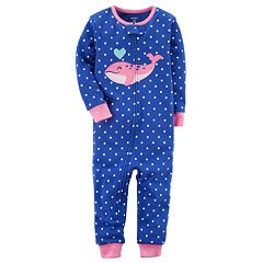 Baby Girl Carter's Whale Dotted One-Piece Pajamas