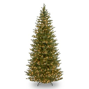 national tree company 75 ft pre lit norway spruce slim artificial christmas tree