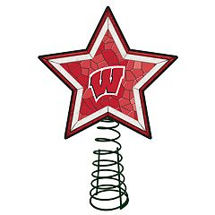 Wisconsin Badgers Mosaic Christmas Tree Topper